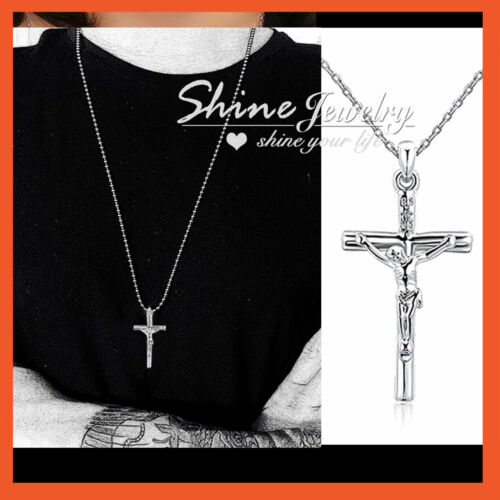 9K WHITE GOLD FILLED silver P50 CRUCIFIX CROSS LADY MENS SOLID NECKLACE PENDANT