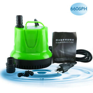 660 GPH Submersible Water Pump Aquarium Fish Tank Powerhead Fountain Hydroponic