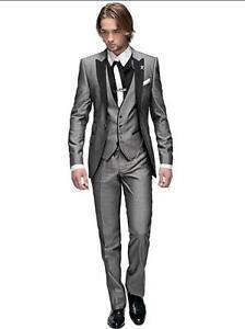 Grey Peak Lapel Best Man Suit Groomsman Men\'s Wedding Suits Groom ...