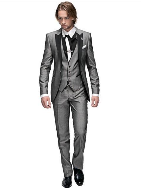 Peak Lapel Best Man Suit Grey Groomsman Men's Wedding/Prom Suits Groom Tuxedos
