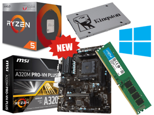 AMD-Quad-Core-Ryzen-5-Gaming-Bundle-16GB-RAM-SSD-MSI-Motherboard-Windows-10-Pro