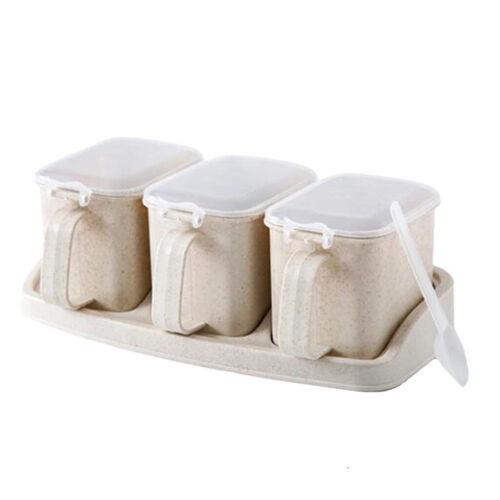 Seasoning Bottle Box Pot Condiment Container Rack Herb Spice Jar BBQ Beige