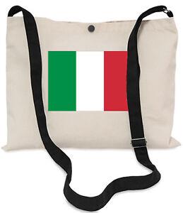 Italienische-Flagge-Canvas-Musette-Bag-40x30cm-150cm-lang-schwarz-verstellbare-Trageriemen