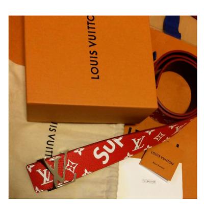 Supreme Louis Vuitton LV Monogram Belt 90/36 Box Logo Red White F/S