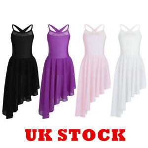 UK-Kids-Girls-Lyrical-Praise-Dance-Dress-Ballet-Leotard-Pleated-Skirt-Dancewear
