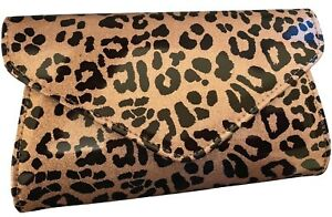 Clutch Bag Brown Animal Sparkly Gold
