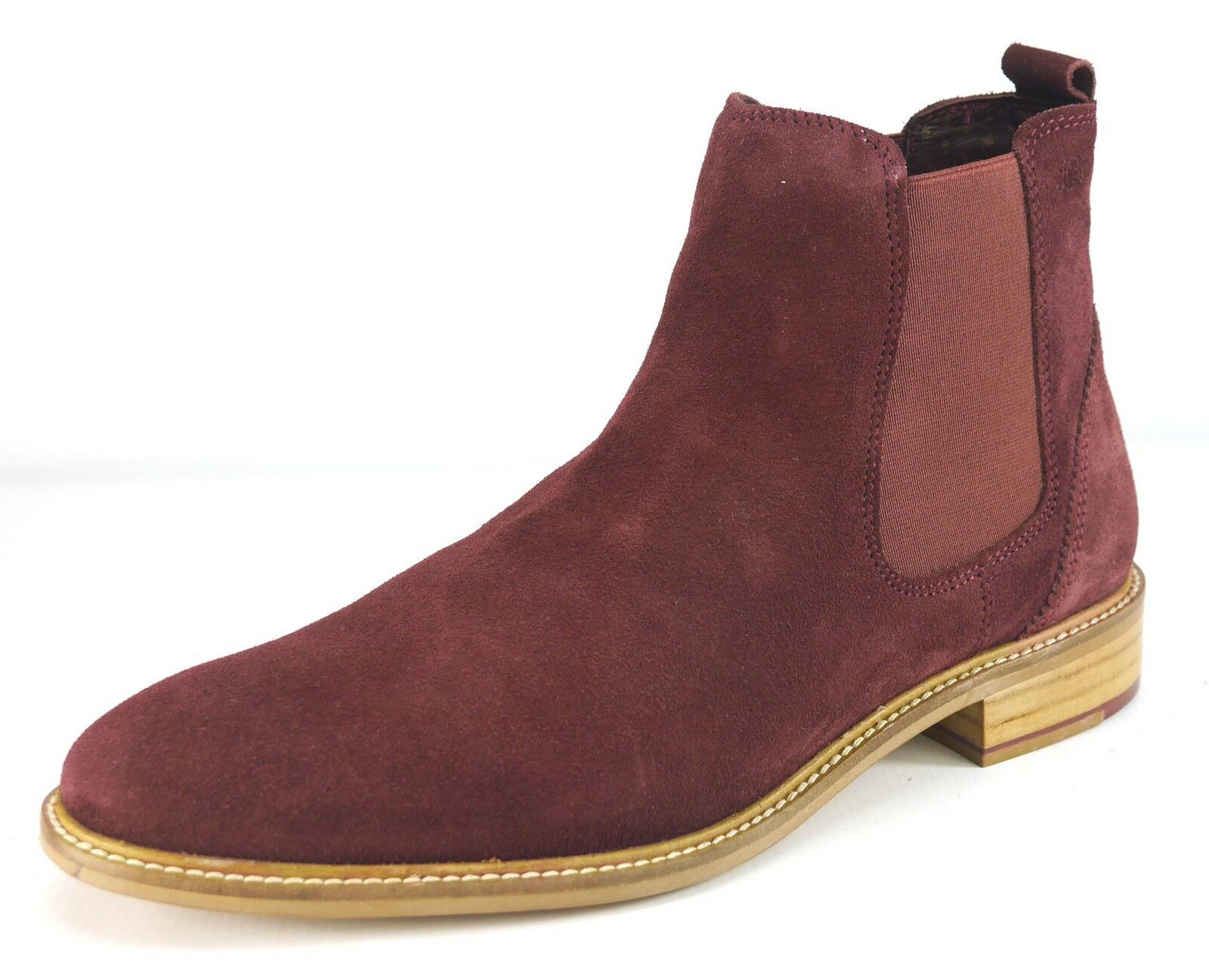 London Brogues Hamilton Suede Pull On Chelsea Boots Mens Bordo Suede