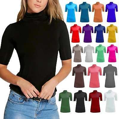 Women Ladies Turtle Polo Roll Neck Short Sleeve Plain Stretch T Shirt Top Jumper