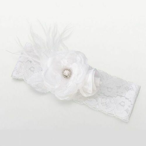 Details about  /Vintage Lace White Garter Flower Rhinestone Feather Lillian Rose Fast Shipping