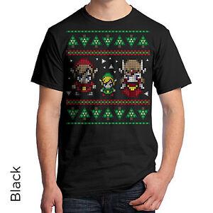 Legend Of Zelda Ugly Christmas Sweater Graphic T-Shirt 8-Bit Great ...