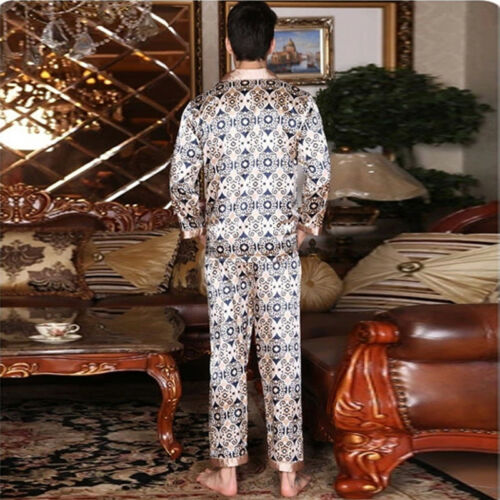 NWT 2PCS Mens Silk Satin Pajamas Sleepwear Pyjamas PJS Long Sleeve M029 M L XL