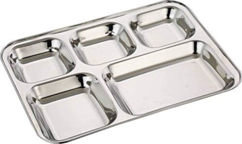 Set of 1 pc 5 in1 Compartment Divided Plate Thali Bhojan Mess Tray Dinner Plate