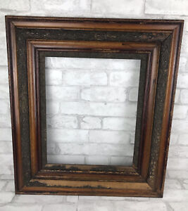 """Antique Large Victorian Ornate Dark Oak And Gesso Picture Frame Fits 14x17"""""""
