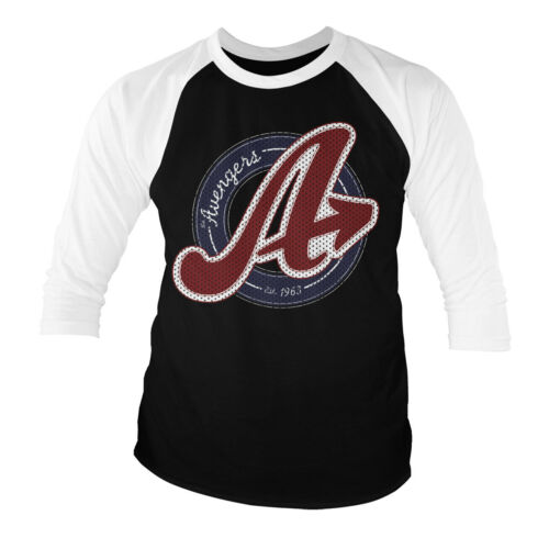 Officially Licensed The Avengers Varsity Logo Baseball 3//4 Sleeve T-Shirt S-XXL
