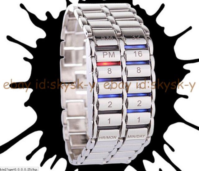 Fashion Men's Women Luxury Stainless Steel Sport Date Digital LED Bracelet Watch