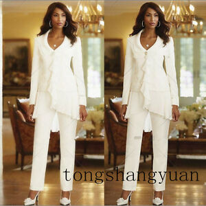 Mother-Of-The-Bride-Dresses-Pant-Suit-Chiffon-Long-Sleeve-Formal-Gown-White-2019