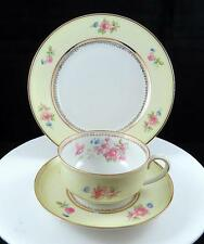 "JVS JOHANN SELTMANN VOHENSTRAUSS 3 PC FLORAL ON YELLOW BAND 2"" TRIO SET 1933-45"