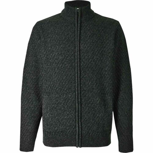 Mens M/&S Ex-Store Textured Zip Up Cardigan Cable Knit Weave Jumper Long Sleeves