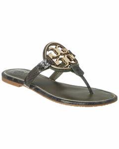 NIB-Tory-Burch-Miller-Leccio-Roccia-Gold-Metal-Snake-Leather-Thong-Sandal-Sz-8-5