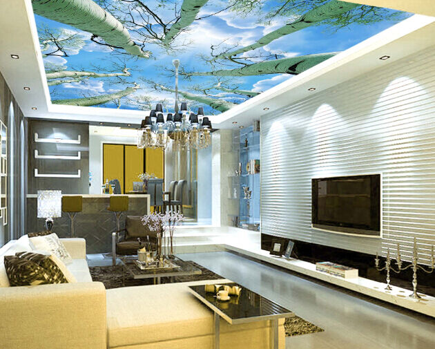 3D Poplar Tree Sky 1 WallPaper Murals Wall Print Decal Deco AJ WALLPAPER GB