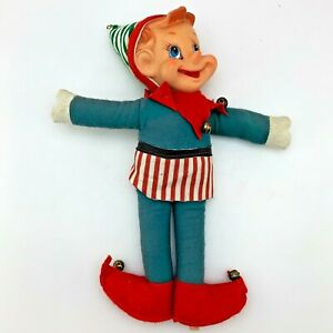 Vintage-Christmas-12-034-Large-Elf-with-Bells-Plastic-Face-Made-in-Japan