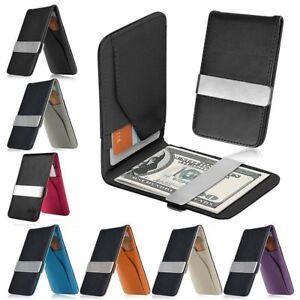 Pince-a-billets-en-cuir-noir-homme-Slim-ID-carte-de-credit-porte-monnaie