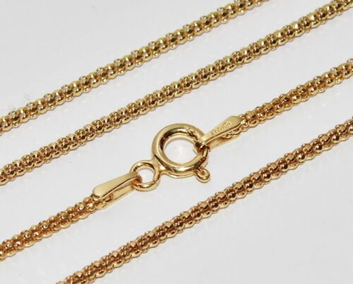 2.9g 9ct Yellow Gold /& Silver Ladies 2mm Popcorn Chain Necklace 20 inch