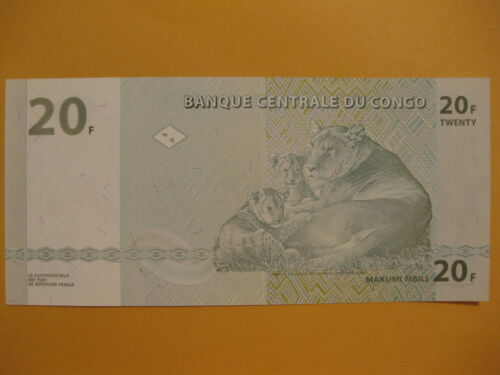 Lioness w// Cubs 20 Francs Loin paper money Neat Lion note Congo Banknote