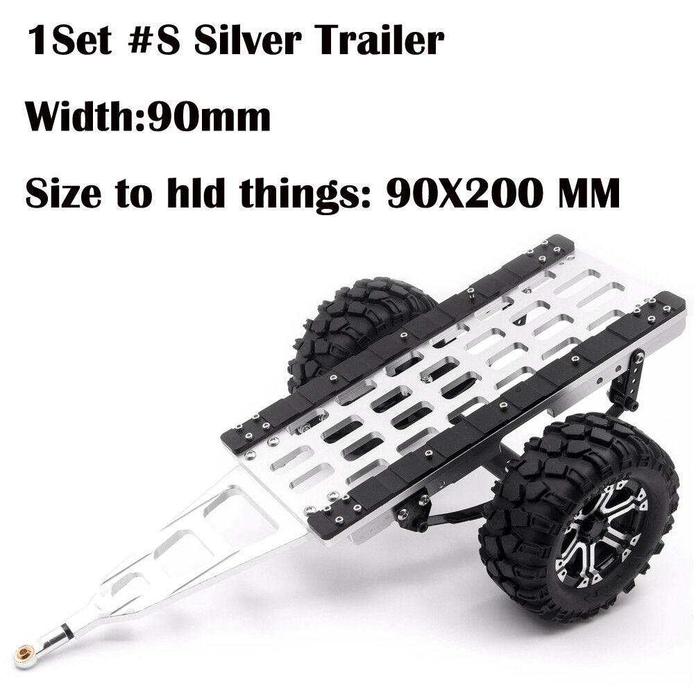 Aluminum Trailer W  Tires for Axial SCX10 CC01 F350 D90 D110 1 10 RC Crawler  S