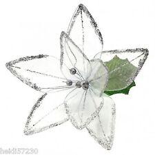 Grosse Fleur bord brilliant blanche décoration baptême mariage communion noel