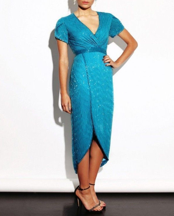 Virgos Lounge Full Embellished Party Occasion Teal Drape Wrap Dress New