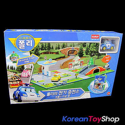 Robocar Poli Electric Charging Station Play Set Toy Blooms Town Map for Diecast