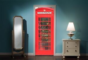 Door-Mural-British-Phone-Box-Booth-View-Wall-Stickers-Decal-Wallpaper-321