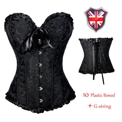 Halloween Women/'s Strapless Overbust Bustier Corset Party Costume Fancy Dress UK