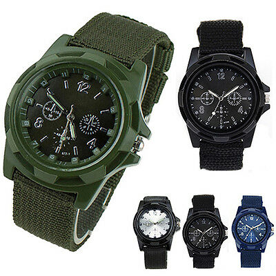Men's Military Army Sport Style Canvas Strap Luminous Quartz Wrist Watch BD1U