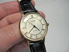USSR Beautiful Golden SEKONDA LUCH 2356 quartz wristwatch in classic slim case!