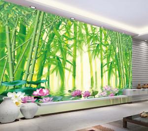 3D Lotus See green Bambus 56 Tapete Tapeten Mauer Foto Familie Tapete Wandgemälde