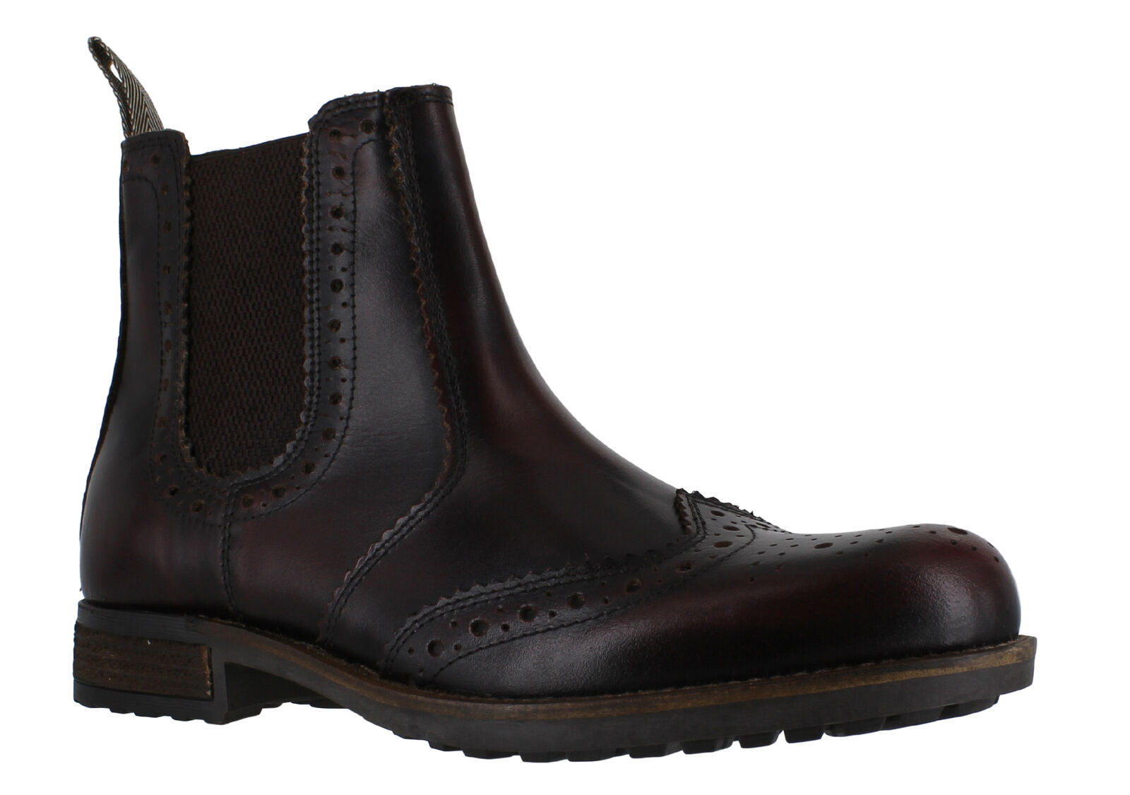 Catesby Mens Bordo Leather Wing Tip Brogues Chelsea Dealer Stiefel