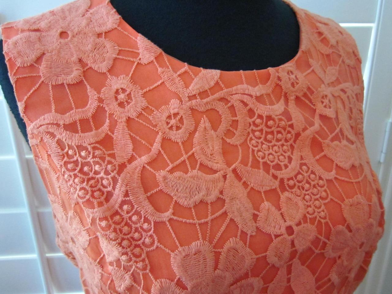 Belle Badgley Mischka CORAL Floral Lace Overlay Sheath Dress Sz 8 US 40 EU 12 UK