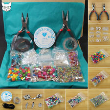 Adults Jewellery Making Starter Kit - Tools Findings Glass Beads Charms Elastic