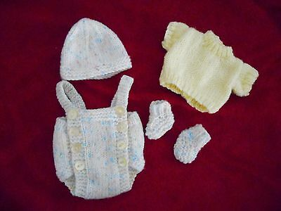 "Doll Clothes Hand-knit Pastel Colors Set Fits baby cloth body 12"" to 14in."