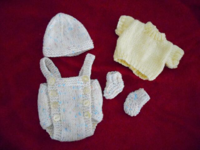 """Doll Clothes Hand-knit Pastel Colors Set Fits baby cloth body 12"""" to 14in."""