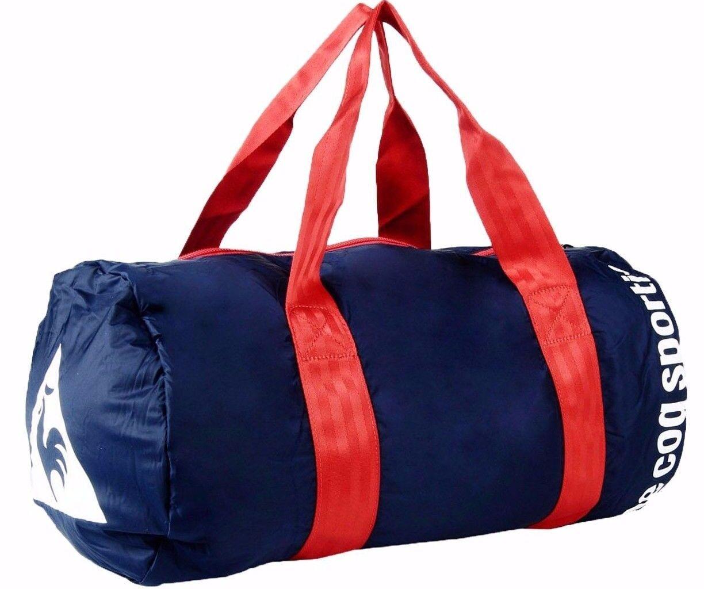 c188fde265a Le COQ Sportif Duffel Travel Gym Yoga Bag Navy Blue & Red Handles 's ...