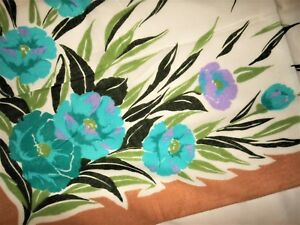 Floral-Scarf-New-Teal-Blue-Brown-White-Purple-Green-Italy-Large