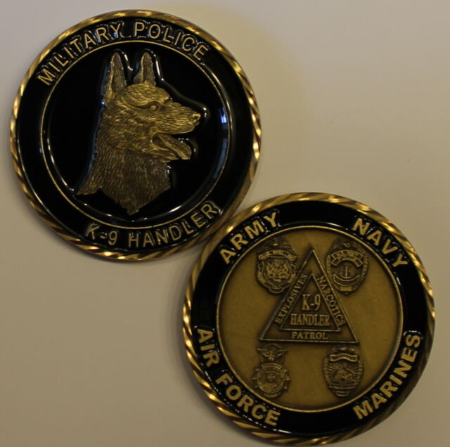 K9 Handler Army Navy Marine Air Force Military Police Challenge Coin 3S