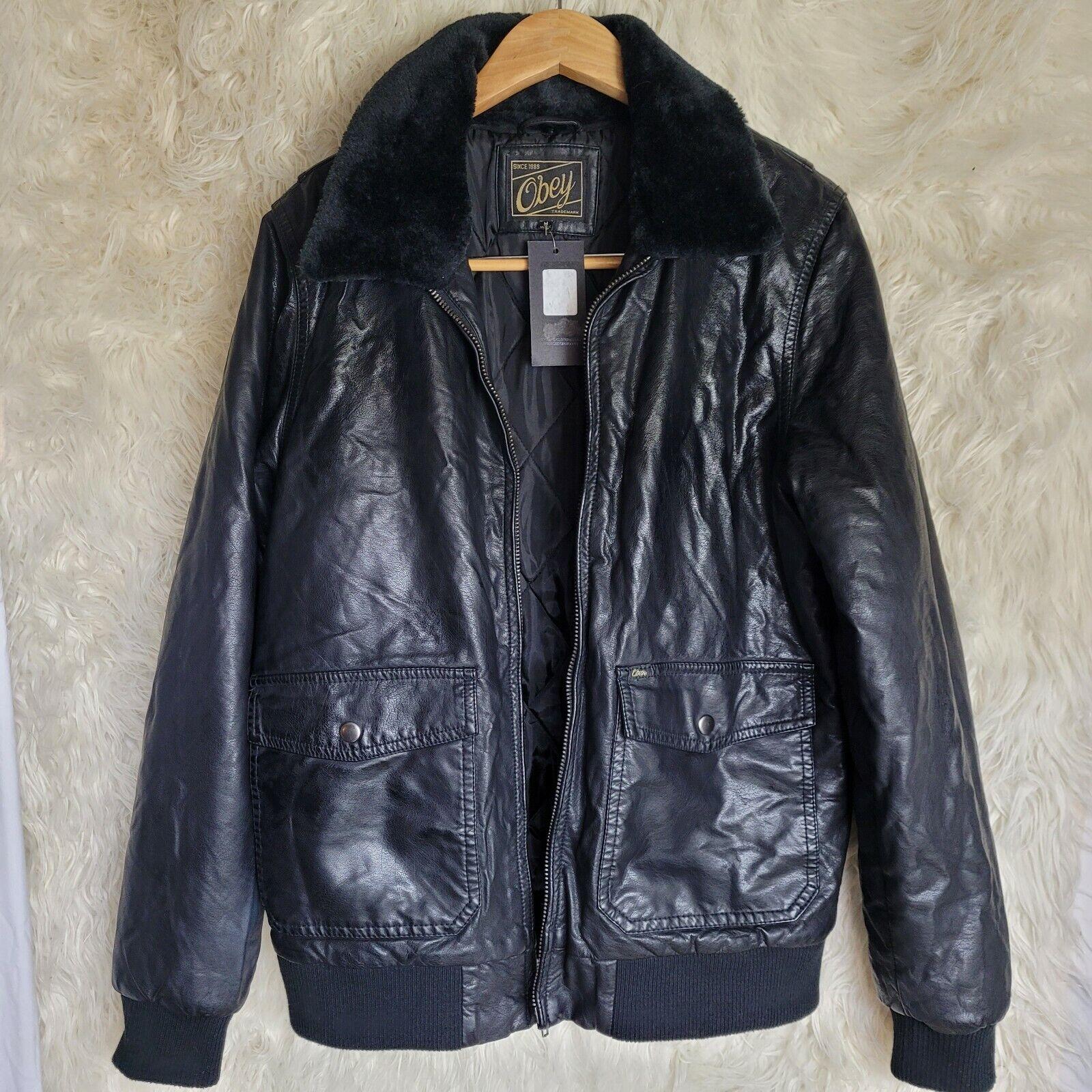 OBEY Downtown Bomber Black Faux Leather Shell Sherpa Fleece Collar Men's  Jacket Regular L for sale online | eBay