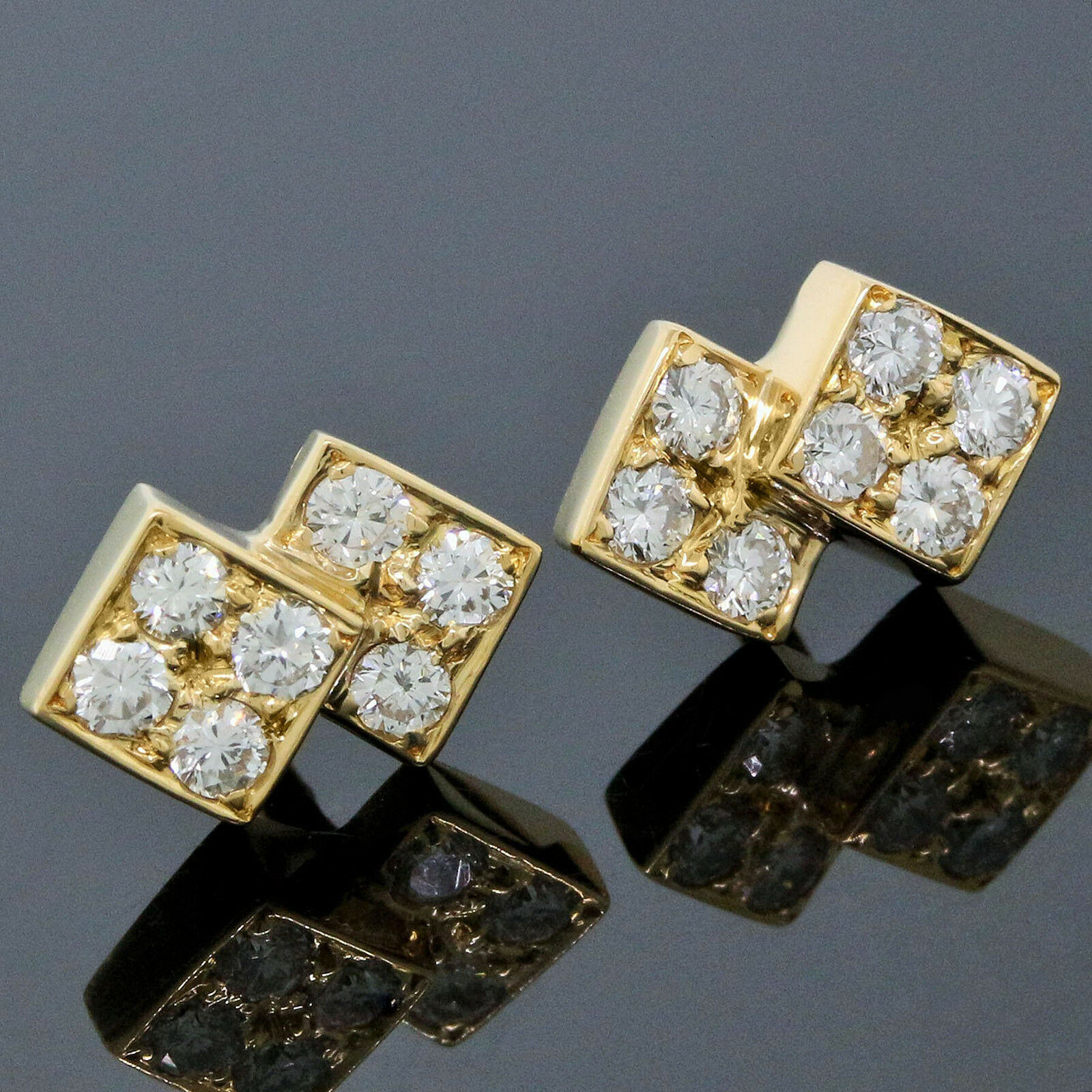 Boucheron 18K Yellow gold 0.42CT Diamond Toi Et Moi Stud Earrings