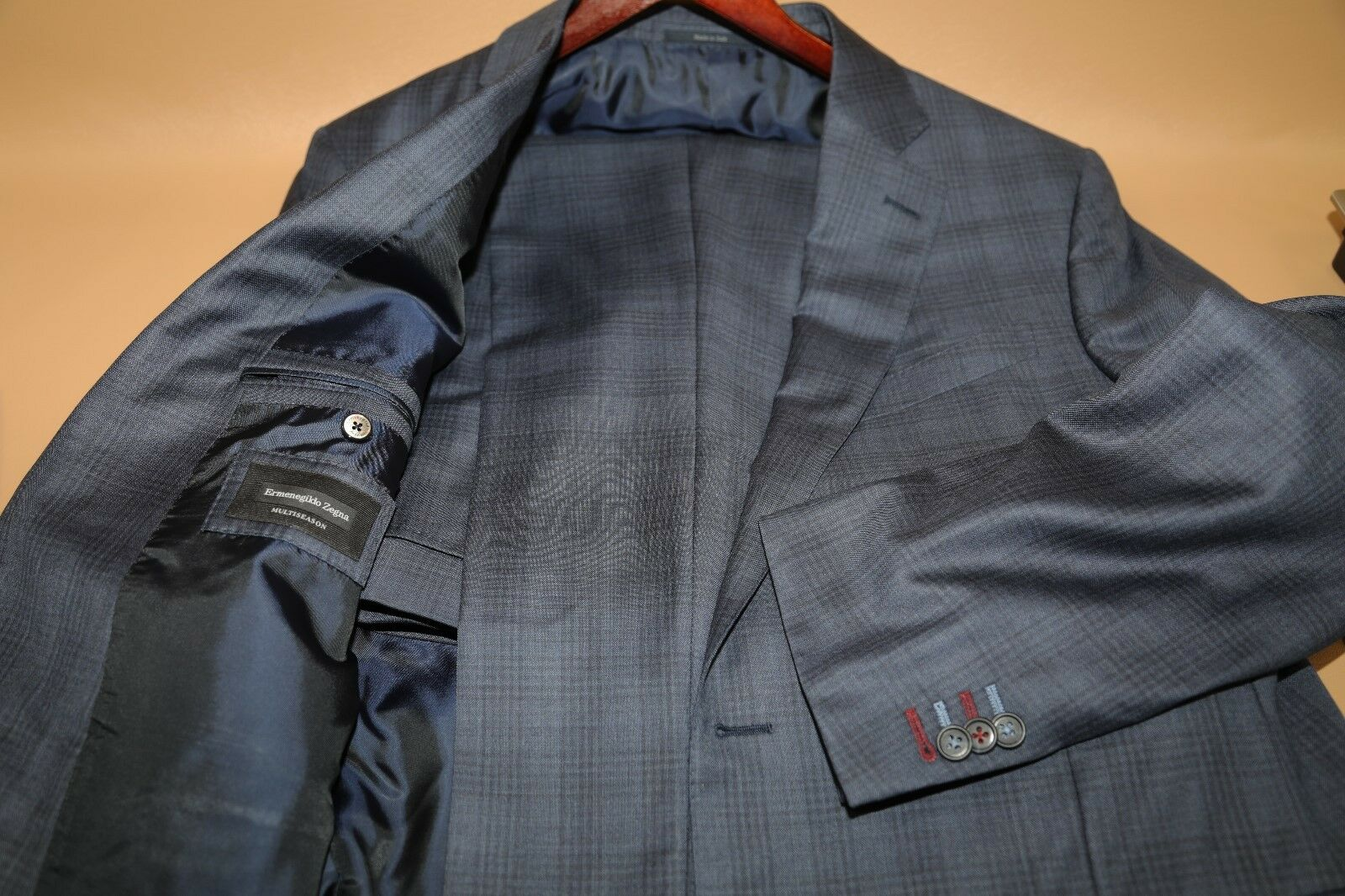 47 Ermenegildo Zegna Multiseason Plaid Two Button Suit Größe 46 L