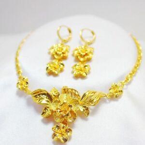 Necklace-Earrings-Set-Women-Flower-24k-Yellow-Gold-Filled-Wedding-Jewelry-Gift