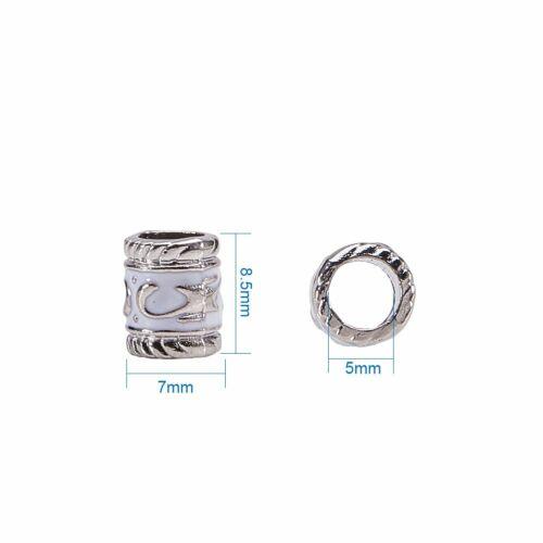 100Pcs Enamel Alloy European Beads Large Hole Column Beads for Jewelry Making